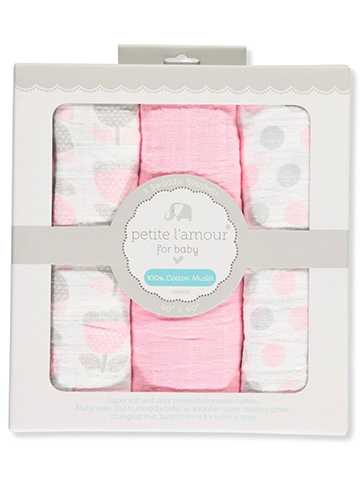 Petite L'amour Baby Girls' 3-Pack Swaddle Blankets - CookiesKids.com