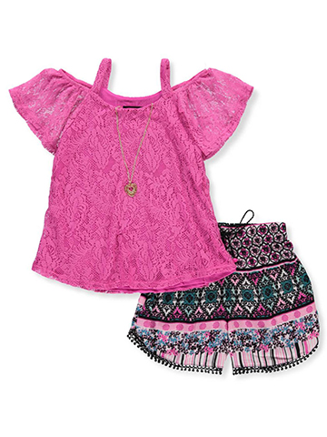 RMLA Girls' 2-Piece Short Set Outfit with Necklace - CookiesKids.com