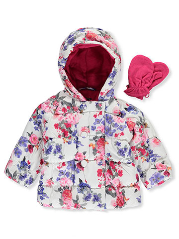 "R. 1881 Baby Girls' ""Double Rose"" Insulated Jacket with Mittens - CookiesKids.com"