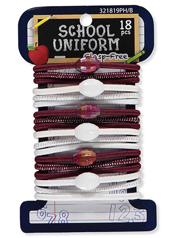 School Uniform 18-Pack Elastic Ponyholders - CookiesKids.com
