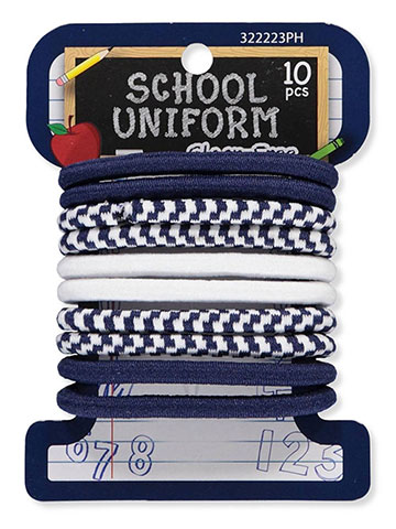 School Uniform 10-Pack Elastic Ponyholders - CookiesKids.com