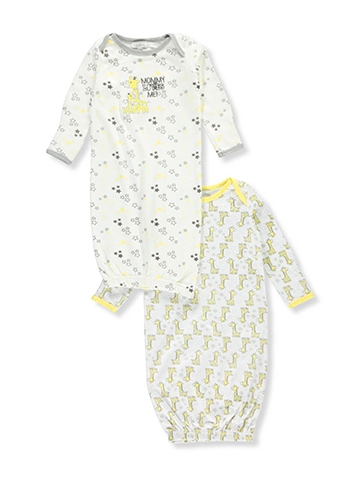 Quiltex Unisex Baby 2-Pack Gowns - CookiesKids.com