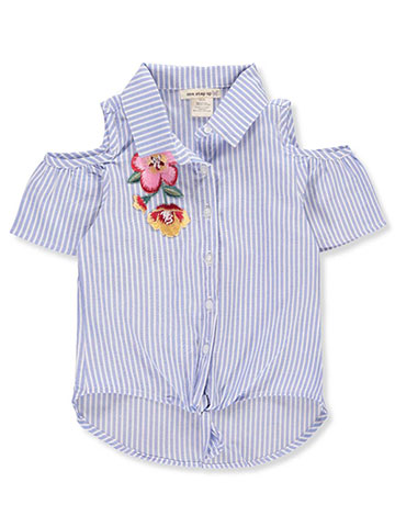 One Step Up Girls' Cold Shoulder Button-Down Top - CookiesKids.com