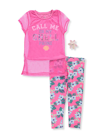 Star Ride Girls' 2-Piece Pants Set Outfit with Hair Clip - CookiesKids.com