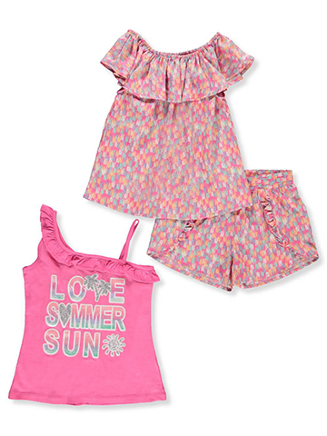 Star Ride Girls' 3-Piece Short Set Outfit - CookiesKids.com
