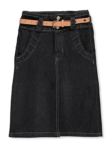 No Fuze Girls' Belted Denim Pencil Skirt - CookiesKids.com