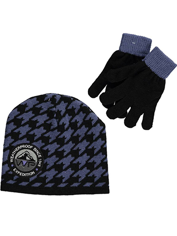 "Weatherproof ""Houndstooth Expedition"" Beanie & Gloves Set (Youth One Size) - CookiesKids.com"