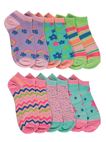 "Limited Too ""Zigzags & Sprinkles"" 6-Pack Low Cut Socks (Sizes 7 – 11) - CookiesKids.com"