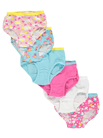 "Fruit of the Loom Little Girls' Toddler ""Cloud Hearts"" 6-Pack Briefs (Sizes 2T – 5T) - CookiesKids.com"