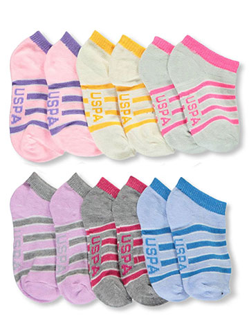 "U.S. Polo Assn. Baby Girls' ""Sweetly Striped"" 6-Pack Low Cut Socks - CookiesKids.com"