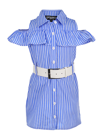 Chillipop Little Girls' Toddler Belted Cold Shoulder Shirt-Dress (Sizes 2T – 4T) - CookiesKids.com