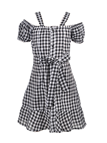 Chillipop Girls' Belted Cold Shoulder Shirt-Dress - CookiesKids.com