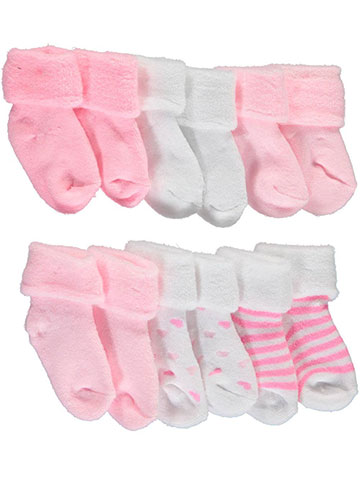 "Mary Jane & Buster Baby Girls' ""Cotton Candy Basics"" 6-Pack Foldover Socks - CookiesKids.com"