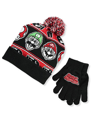 Super Mario Boys' Beanie & Gloves Set (Youth One Size) - CookiesKids.com