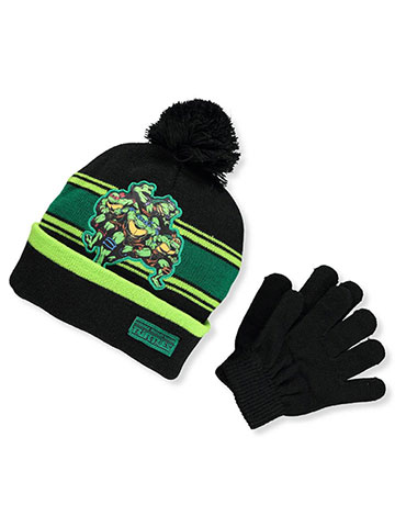 TMNT Boys' Beanie & Mittens Set (Toddler One Size) - CookiesKids.com