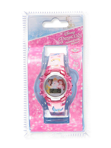 Disney Princess Flashing LCD Watch, Featuring Belle, Ariel, and Cinderella - CookiesKids.com