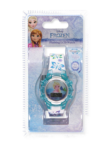 Disney Frozen Flashing LCD Watch Featuring Elsa - CookiesKids.com