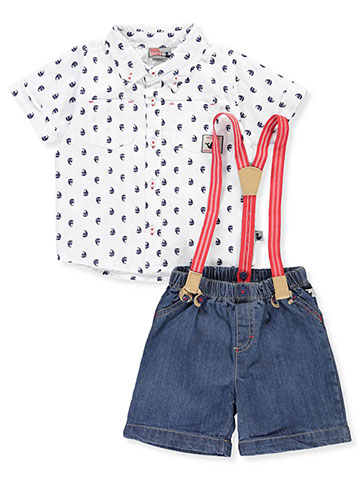DDG Sport Baby Boys' 2-Piece Short Set Outfit with Suspenders - CookiesKids.com