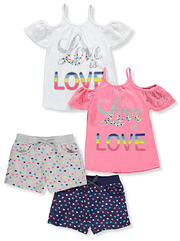 Real Love Girls' 2-Pack 2-Piece Short Set Outfits - CookiesKids.com