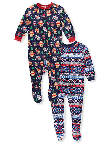 Mon Petit Boys' 2-Pack 1-Piece Footed Pajamas - CookiesKids.com