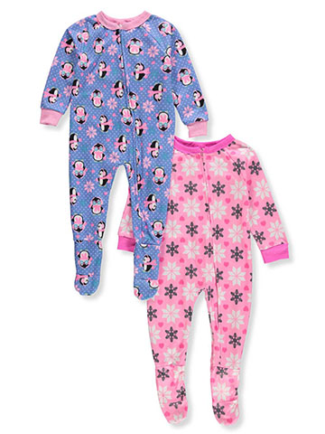 Mon Petit Baby Girls' 2-Pack 1-Piece Footed Pajamas - CookiesKids.com