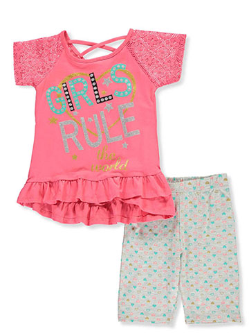 Real Love Girls' 2-Piece Bike Shorts Set Outfit - CookiesKids.com