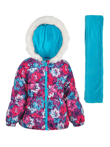 London Fog Girls' Insulated Jacket with Scarf - CookiesKids.com