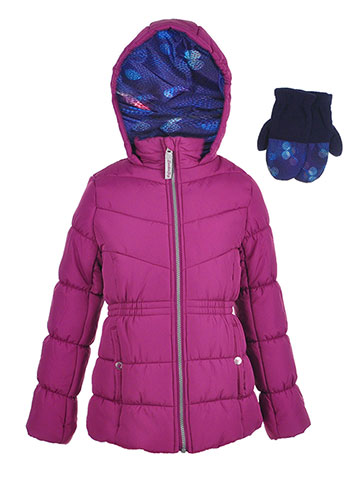 London Fog Girls' Insulated Jacket with Mittens - CookiesKids.com