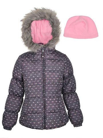 London Fog Girls' Insulated Jacket with Beanie - CookiesKids.com
