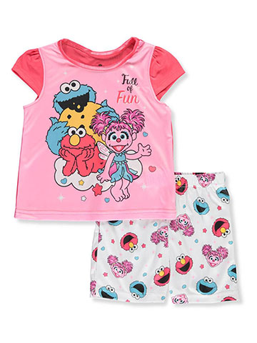 Sesame Street Girls' 2-Piece Pajamas - CookiesKids.com