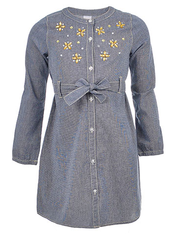 Famous Brand Girls' L/S Belted Button-Down Dress - CookiesKids.com