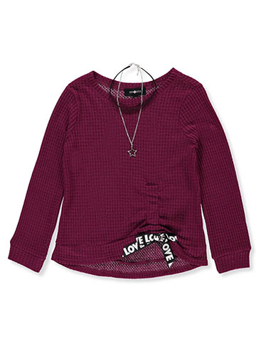 Amy Byer Girls' L/S Thermal Shirt with Choker - CookiesKids.com