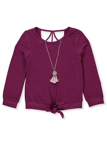 Amy Byer Girls' L/S Top with Necklace - CookiesKids.com