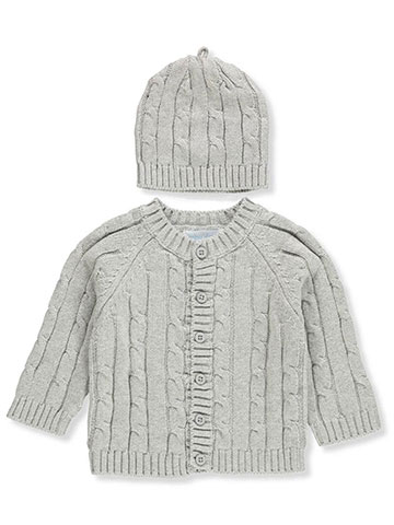 Baby Dove Baby Boys' Cable Knit Cardigan and Beanie Set - CookiesKids.com