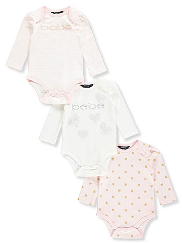 Bebe Baby Girls' 3-Pack L/S Bodysuits - CookiesKids.com