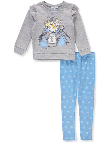 Disney Frozen Girls' 2-Piece Leggings Set Outfit Featuring Anna & Elsa - CookiesKids.com