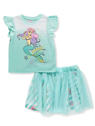 Disney Princess Girls' 2-Piece Skirt Set Outfit Featuring Ariel - CookiesKids.com