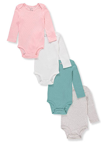 Carter's Baby Girls' 4-Pack L/S Pointelle Bodysuits - CookiesKids.com