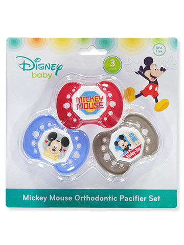 Disney Mickey Mouse 3-Pack Orthodontic Pacifier Set - CookiesKids.com