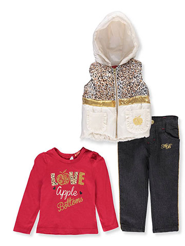 Apple Bottoms Baby Girls' 3-Piece Pants Set Outfit - CookiesKids.com