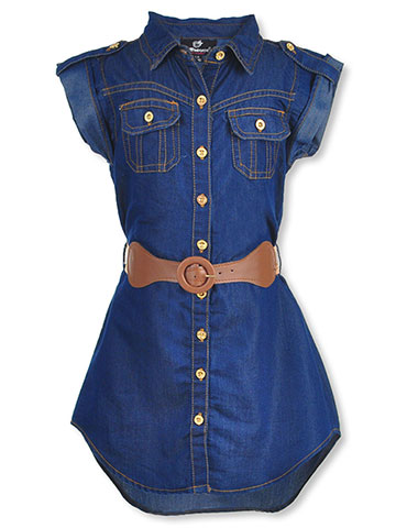 Dollhouse Girls' Belted Button-Down Dress - CookiesKids.com