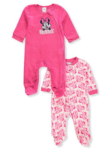 Disney Minnie Mouse Baby Girls' 2-Pack Footed Coveralls - CookiesKids.com