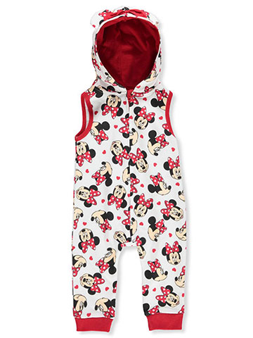 Disney Minnie Mouse Baby Girls' Hooded Coverall - CookiesKids.com