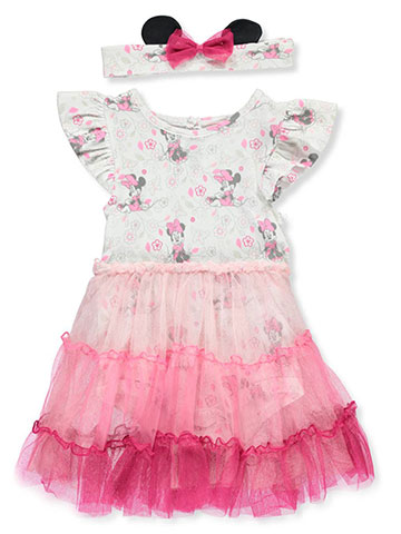 Disney Minnie Mouse Baby Girls' Dress/Bodysuit Combo with Headband - CookiesKids.com