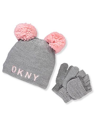 DKNY Girls' Knit Beanie & Gloves Set - CookiesKids.com