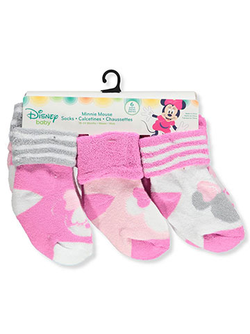Disney Minnie Mouse Baby Girls' 6-Pack Ankle Socks - CookiesKids.com