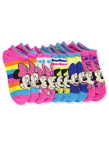 Disney Minnie Mouse Girls' 5-Pack Ankle Socks - CookiesKids.com