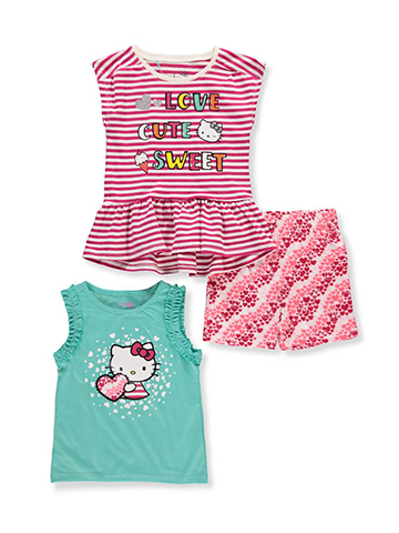 Hello Kitty Girls' 3-Piece Short Set Outfit - CookiesKids.com