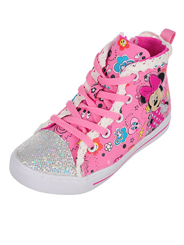 Disney Minnie Mouse Girls' Light-Up Hi-Top Sneakers (Sizes 6 – 12) - CookiesKids.com