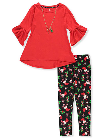 One Step Up Girls' 2-Piece Leggings Set Outfit with Necklace - CookiesKids.com